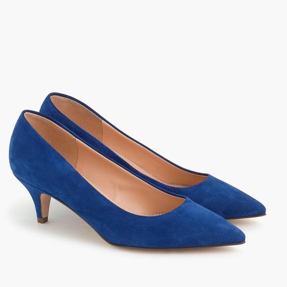 Blue Suede Kitten Heels